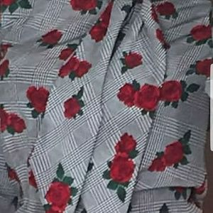 Tops - Roses on Houndstooth tie neck blouse ISO